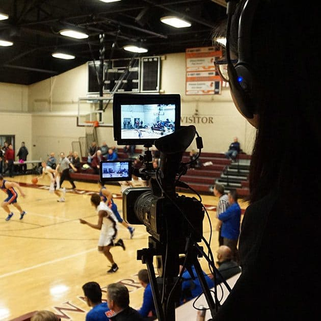 Live sports broadcasting team at Wheaton Academy, a top Christian high school