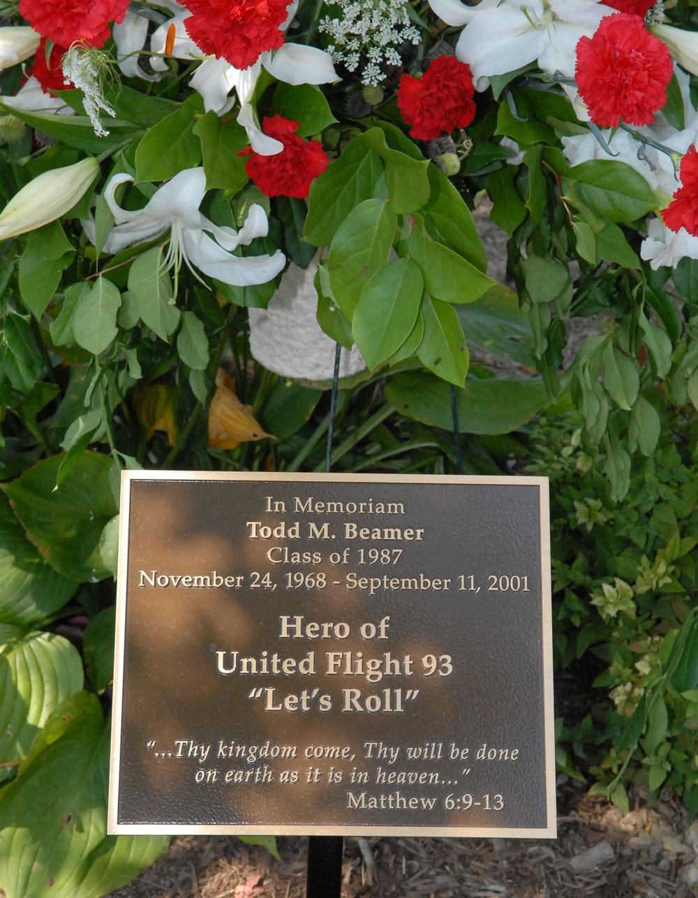 Todd Beamer Plaque in Memorial Garden