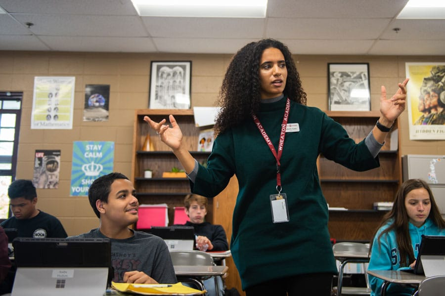 Izzy Case teaching math at Wheaton Academy