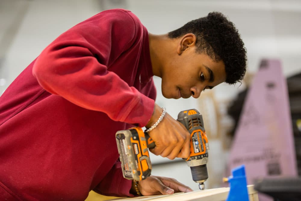 Wheaton Academy students work on building projects in our makerspace