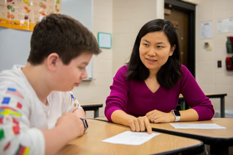 Rochelle Yang teaches Chinese to high school students