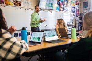 Mr. Jasper teaches a class at Wheaton Academy, a college prep high school