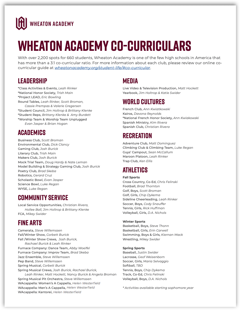 Co-Curricular Guide