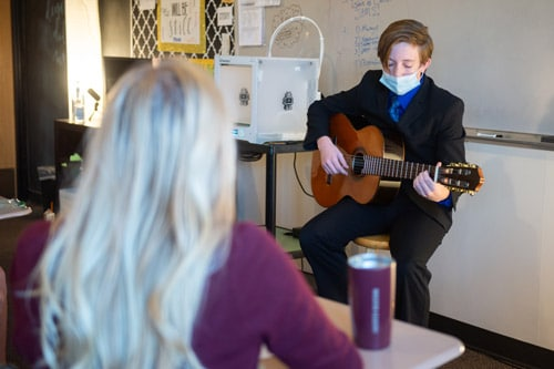 High school student creative presentation at Wheaton Academy, a private Christian high school