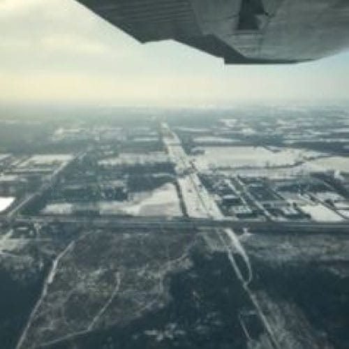 Josh flies over Dupage Airport during his Winterim Internship